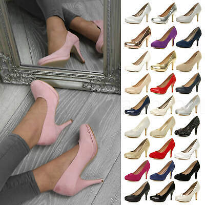 Womens ladies high mid heel platform wedding evening bridesmaid court shoes size