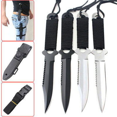Stainless Steel Survival Fixed Blade Knife Cord-Wrapped Handle Hunting Surval #U