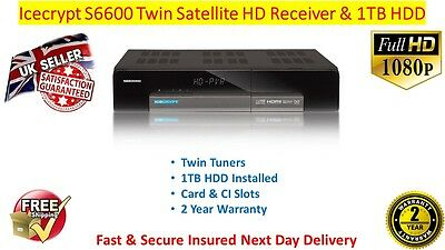 Icecrypt S6600 HD Linux Twin Tuner Satellite Receiver 1TB HDD Installed