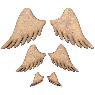 Angel Wings Craft Shapes (Pair), Embellishments, Decorations, 2mm MDF Wood,