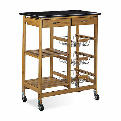 Kitchen Cart Kitchen Island Kitchen Trolley Rolling w/ Wheels Marble Bamboo