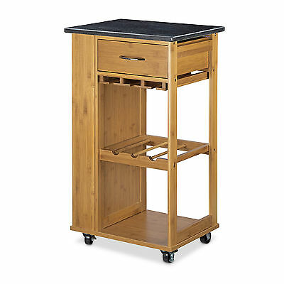 Kitchen Cart Bamboo Serving Cart Kitchen Trolley Island Rolling w/ Wheels Marble