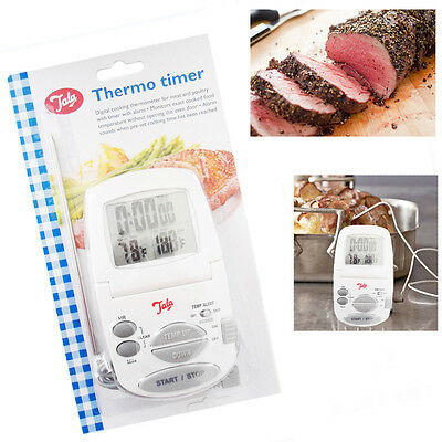 Digital Meat Cooking Thermometer Thermo Timer BBQ Food Kitchen with Alarm Probe