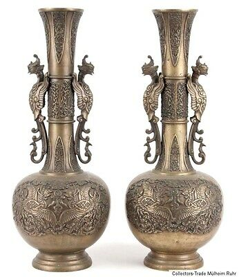 China 19./20. Jh. Vasen - A Pair Of Chinese Bronze Vases - Chinois Cinese Qing