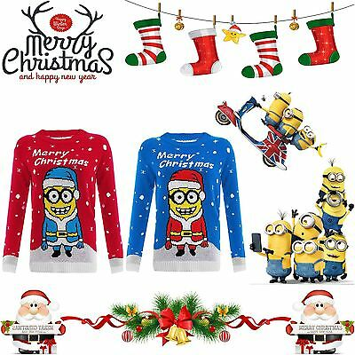 Boys Girls Children Christmas Kids Xmas Novelty Minions Print Sweater Jumper TOP