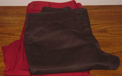 Ann Taylor LOFT Petites Lot of 2 Marisa Fit Stretch Capris Red/Brown  10P