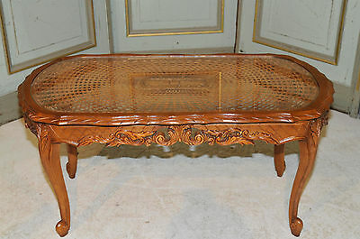 Antique French Provincial Coffee Table in Oak with Cane Top