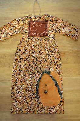 "Grungy Hanging ""DOLL DRESS"" Primitive Folk Art Give Thanks Fall 18"" Pumpkin"