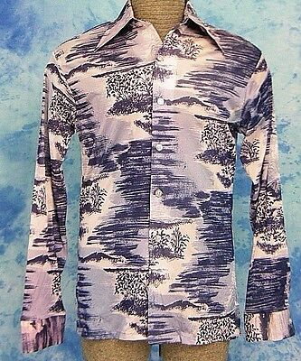 ViNTAGE ReTrO 70s BiG COLLAR HAWAiIAN VOLCANO PRiNT SHEER DiScO PARTY SHiRT S/M