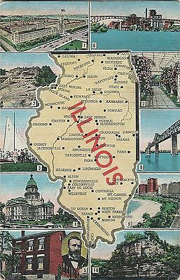 IN, Indiana Vintage Linen State Map Postcard