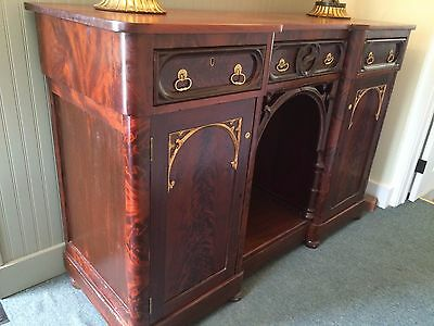 1840 Antique Victorian Gothic Mahogany Sideboard Server Buffet
