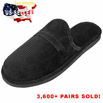 Mens Slippers Open Back House Shoe Black Corduroy Slip On Comfort Indoor Outdoor