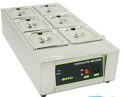 6 Pans Well Chocolate Warmer Tempering Melting Bain Marie Melter Heat