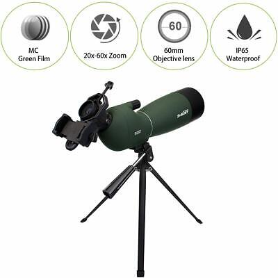 SVBONY Angled Spotting Scopes 20-60x60 for Birds Watching Searching+Adapter