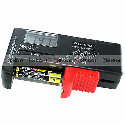 AA AAA C D 9V 1.5V Button Cell LCD Display Battery Level Checker Volt Tester NEW