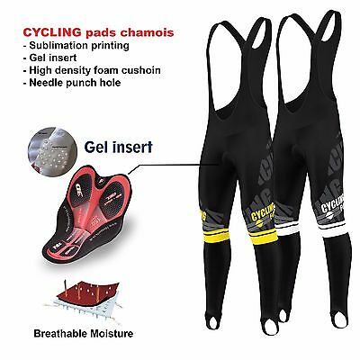 FDX Mens Pro Bib Tights Winter Thermal 3D Gel Padded Bicycle Leggings Long Pants