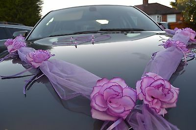 wedding car decoration, ribbon, bows, prom limo decoration ,purple garland