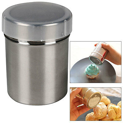 Stainless Chocolate Cocoa Flour Shaker Dredge Icing Salt Sugar Coffee Sifter+Lid