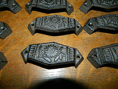 Lot/10~Ornate Hex Cast Iron Industrial Tool Seed Index File Bin Pull or Handles