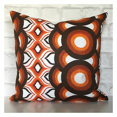 Genuine Original Retro Fabric Cushion Cover 60s 70s  Vintage Orange