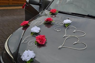 wedding car decorations, SARA, Automobile di cerimonia nuziale D PINK / WHITE