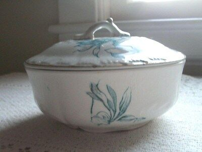 Antique 3 Piece Covered Soap Dish Lid Transferware Ironstone Pottery Blue Flower