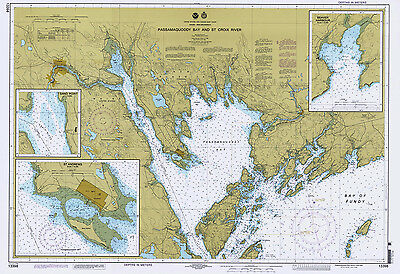 1996 Nautical Map of Passamaquoddy Bay and St Croix River Maine