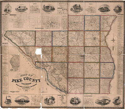 1860 Map of Pike County Illinois Pittsfield