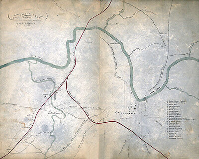 1863 Map of Columbia Tennessee and vicinity