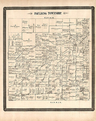 1892 Map of Paulding Township Paulding County Ohio