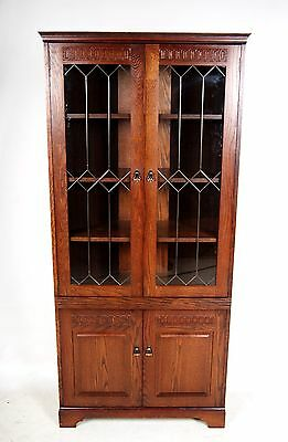 Corner Oak Glass Bookcase Corner Cabinet Cupboard Leaded Glass Glazed Display Ca