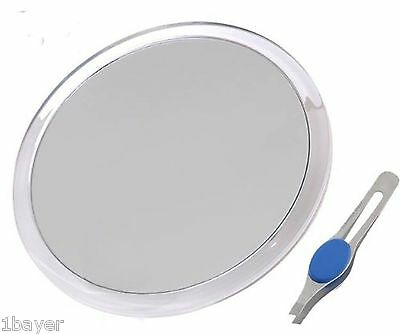 "DB-Tech Large 8"" Suction Cup 10X Magnifying Mirror with Precision Tweezers"