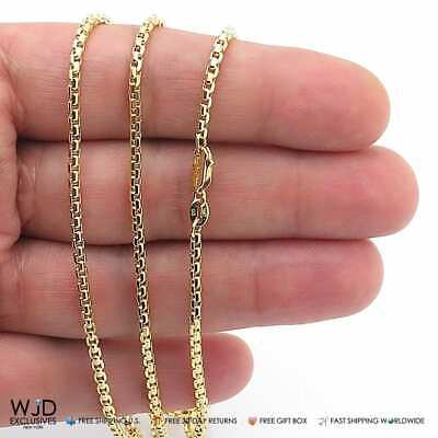 "14K Solid Yellow Gold 3mm Round Box Link Chain Necklace 18"" Pendant Chain"