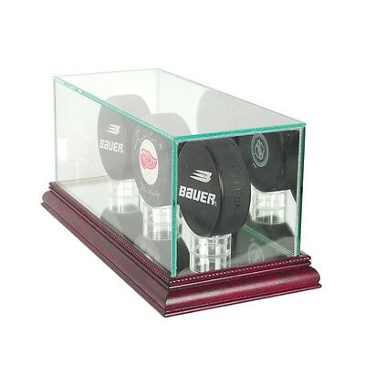 Triple Puck Display Case - Cherry Wood Base
