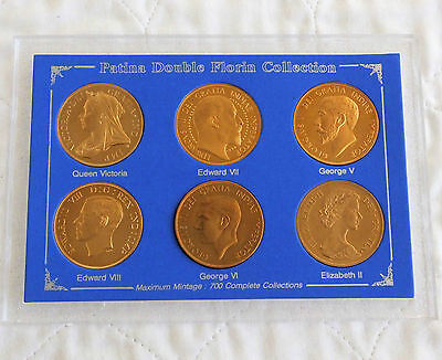 Uk Bronze Proof Pattern 6 Coin Patina Double Florin Set - 1893 - 1953