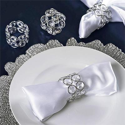 4 pcs SILVER Faux Crystal Design NAPKIN RINGS Wedding Party Catering Dinner SALE