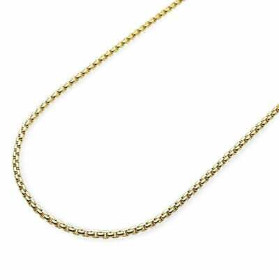 14K Solid Yellow Gold 2mm Round Box Link Chain Necklace 24""