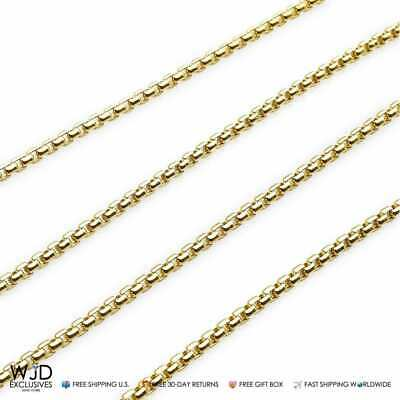 14K Solid Yellow Gold 3mm Round Box Link Chain Necklace 24""