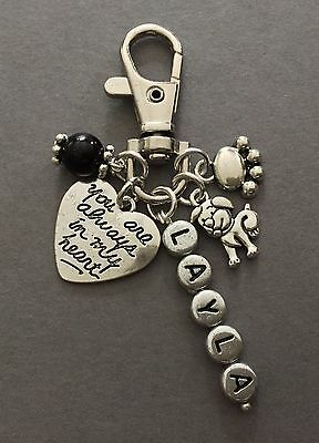 Pet loss/death DOG, memorial, 'always in my heart' PERSONALISED key / bag CHARM