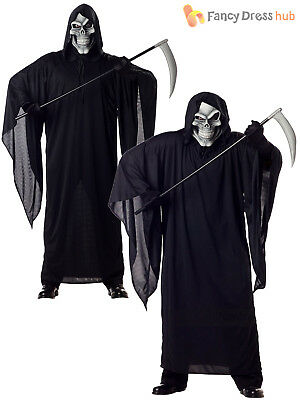 Mens Grim Reaper Costume + Mask Death Horror Robe Adult Halloween Fancy Dress