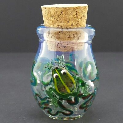 3-D Frog Glass Jar Hand Blown Fitted Cork Collectible Trinket Container Jug 1
