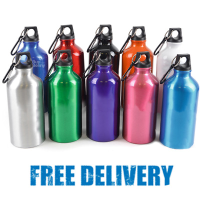 550ml ALUMINUM DRINK WATER BOTTLE METAL CLIP HIKING CYCLING MOUNTAIN SPORTS