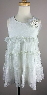 MISS GRANT Girls White Lace Dress With Pearl Tulle Embelished Flower NEW SZ 6-7