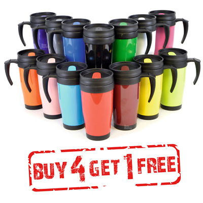 THERMAL TRAVEL MUG TEE COFFE HOT DRINK CUP HANDLE DOUBLE WALLED INSULATED 400ml