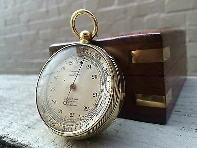 brass POCKET ANEROID bevelled army? BAROMETER ALTIMETER UK Short & Mason + box