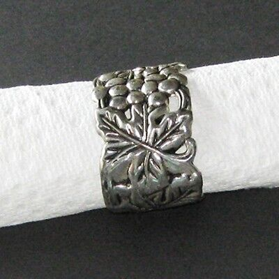 8 Silver Plated Napkin Ring Grapes Vines Leaf