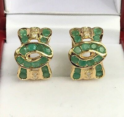 14k Solid Yellow Gold Cute Bow Omega Back Diamond Earrings, Natural Emerald.