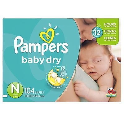 Pampers Baby Dry Diapers Size-N Super Pack 104-Count- Packaging May Vary
