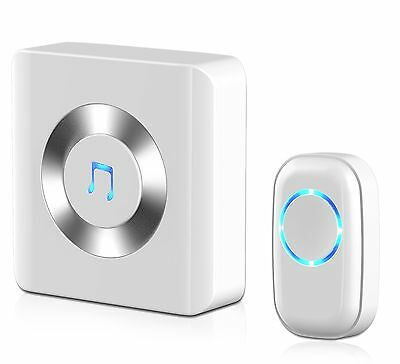 Chime JETech Portable Wireless DoorBell Plug-in Push Button with LED Indicato...