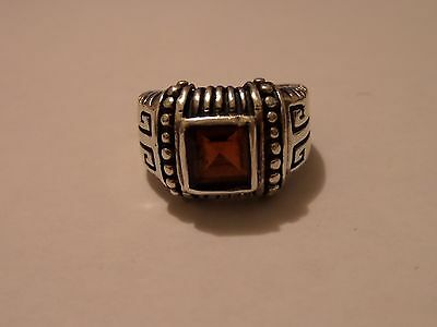 Vintage Sterling Silver Size 6 Ring Amber Color Stone